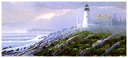 Painting of Pemaquid Lighthouse. New Harbor Maine. watercolor paintings, acrylic paintings, marine watercolors, landscapes